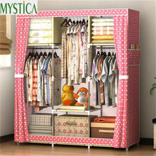 цена 2017 NEW Non-woven Wardrobe Closet Large And Medium-sized Storage Cabinets Simple Folding Reinforcement Receive Stowed Clothes онлайн в 2017 году