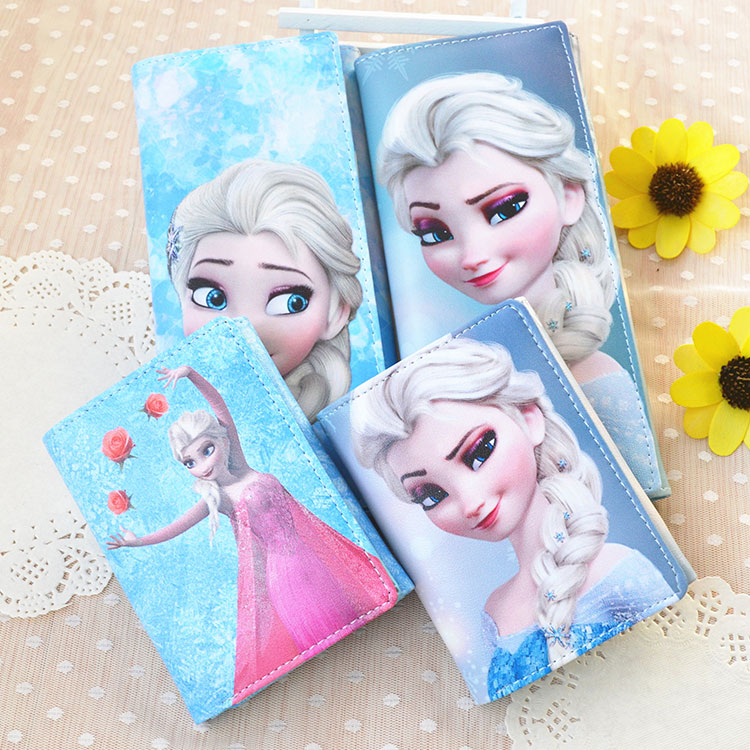 Disney Children's Princess frozen Coin Purse Girls Primary and Secondary School Cute Cartoon Anime Wallet Blue Pink Short Wallet(China)
