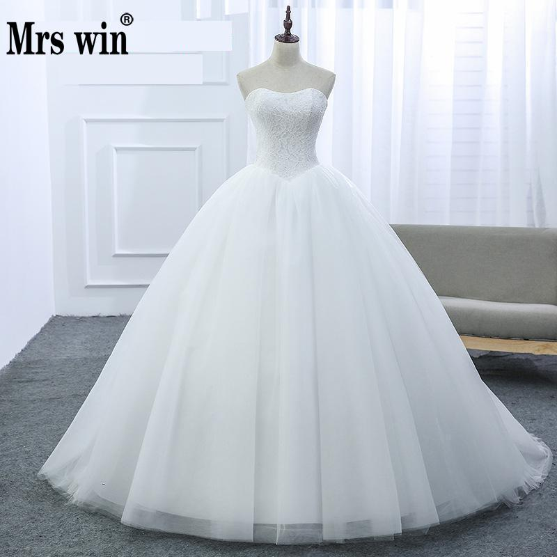 New 2019 Strapless Ball Gowns Sleeveless Wedding Dresses Lace Appliques Body Real Image Vestido De Noiva Simple Brdial Dress