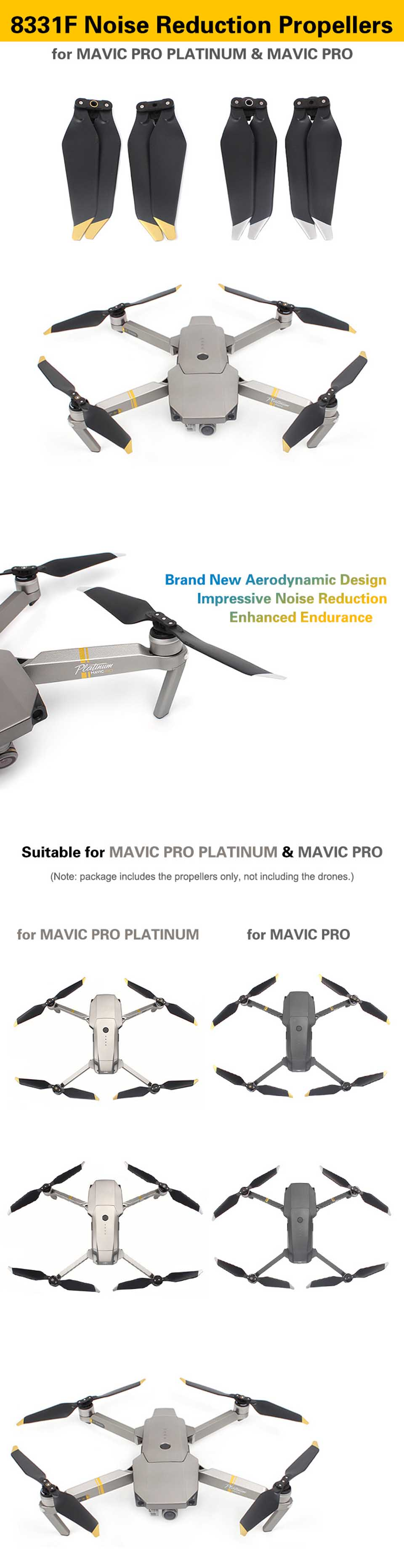 2 Pair DJI Mavic Pro Platinum 8331 Low-Noise Quick-Release Propellers ( Golden ) for Mavic Pro Drone Accessories