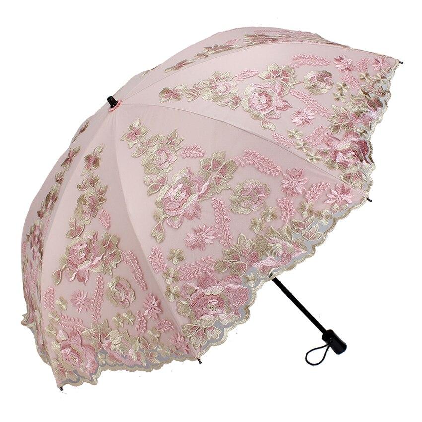 Parapluie à fleurs Non automatique à double pliage Mini parapluie pluie femmes parapluie de mariage parapluie de pluie femme parapluie de broderie