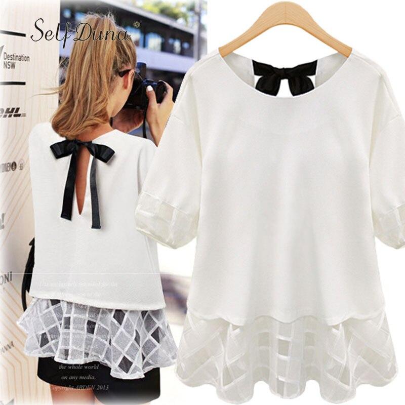 Self Duna 2018 Summer Women Chiffon   Blouse   Plus Size XXXL XXXXL XXXXXL Mesh Cute Sexy Black White   Blouse     Shirt   Top