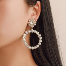 2019 Hot New Pearl Hoop Earrings for Women Exaggerates Oversize Circle Ear Rings Fashion Europe Nightclub Jewelry