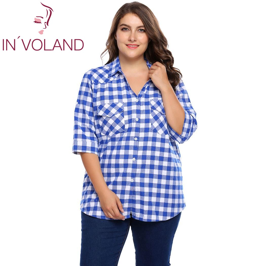 IN'VOLAND Big Size Women Blouse Blusas Autumn 3/4 Sleeve Plaid Button Down Pullovers Casual Feminino Shirts Tops Plus Size 4XL