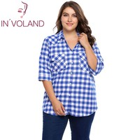 IN VOLAND Big Size Women Blouse Blusas Autumn 3 4 Sleeve Plaid Button Down Pullovers Casual