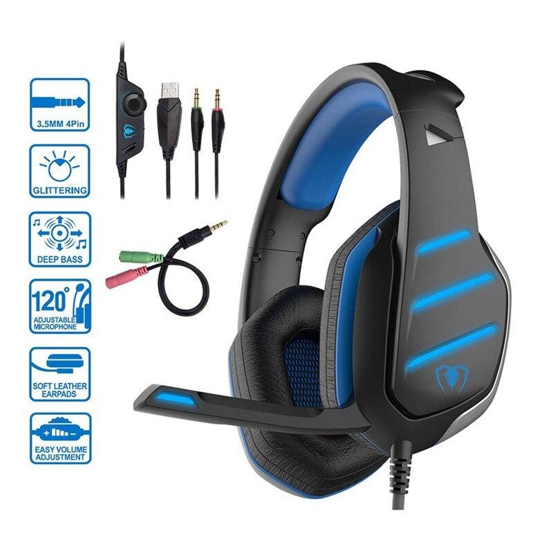 Ihens5 PS4 casques de jeu stéréo basse jeu casque écouteur casque avec micro LED lumières pour téléphones ordinateur PC Xbox One Gamer