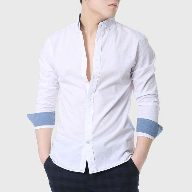 ad28d9f707f placeholder Mens Slim Fitted Shirts Social Men Casual White Shirts Oxford  Chambray Cowboy Plain Linen Shirts Designer