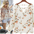 Plus Size XL, 2017 Women Summer Autumn Casual Blouses Long Sleeve Blouse Chiffon Floral Shirts for Women