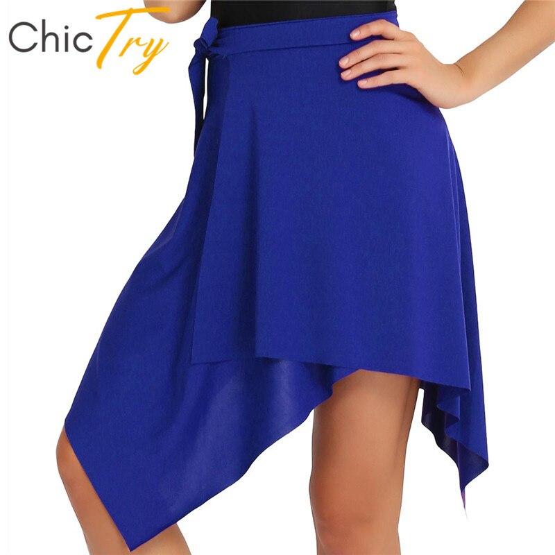 ChicTry Fashion Women Stretchy Asymmetrical Short Wrap Skirt Latin Dance Skirt Adult Rumba Samba Tango Latin Stage Dance Costume