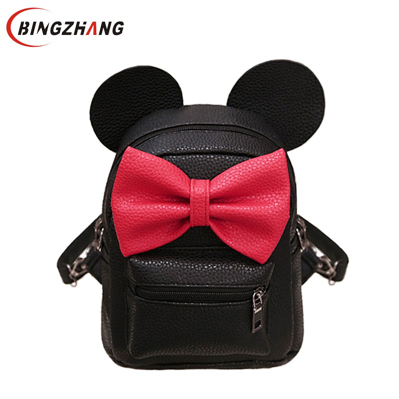 2018 New Backpack Pu Leather Female Mini Bag Women's Backpack Sweet Bow Teen Girls Backpacks School Bag Mochila Feminina L4-3282 children school bag minecraft cartoon backpack pupils printing school bags hot game backpacks for boys and girls mochila escolar