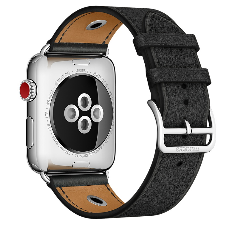 Newest Genuine Leather Rivet Custom Edition Single Tour Watch band Strap For herm Apple Watch Series 1 2 3 iwatch 38 42mm