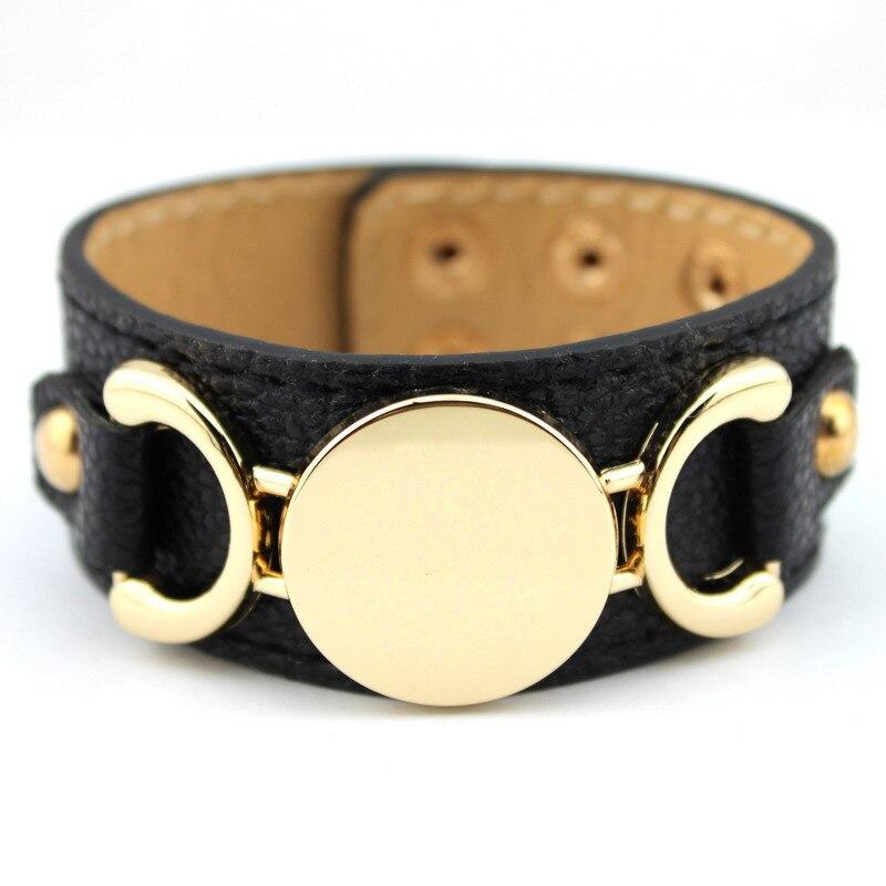 2016 neue Stil Monogramm Leder Manschette Armbänder für Frauen - Modeschmuck - Foto 5