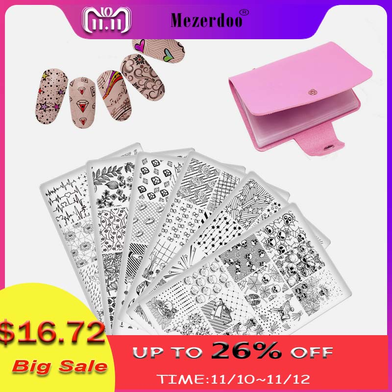 Nail Stamping Plates Set 10PC Nail Plates +Storage Bag 20 Slots Holder Flower Animal Skull Nail Art Template Image Stencil Tool beautybigbang 5pcs nail stamping plates rectangle nail stamping plates summer flower nail template nail art stamping