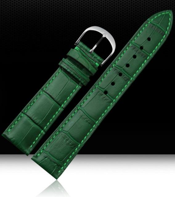 370a216a1 Watch Strap 12mm 14mm 16mm 18mm 20mm 22mm Mens Womens Green 100% Genuine  Crocodile Pattern Leather Watch Strap Bands Bracelets