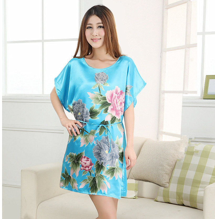 Plus-Size-Women-s-Faux-Silk-Robe-Bath-Gown-Nightgown-Light-Blue-Sexy-Summer-Sleepshirts-New