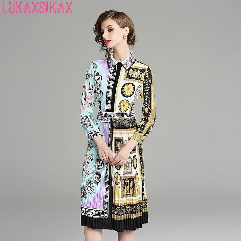 LUKAXSIKAX Fashion Designer Runway 2019 Spring Autumn Women Dress High Quality Retro Graphic Print Pleated Hem Shirt Dress