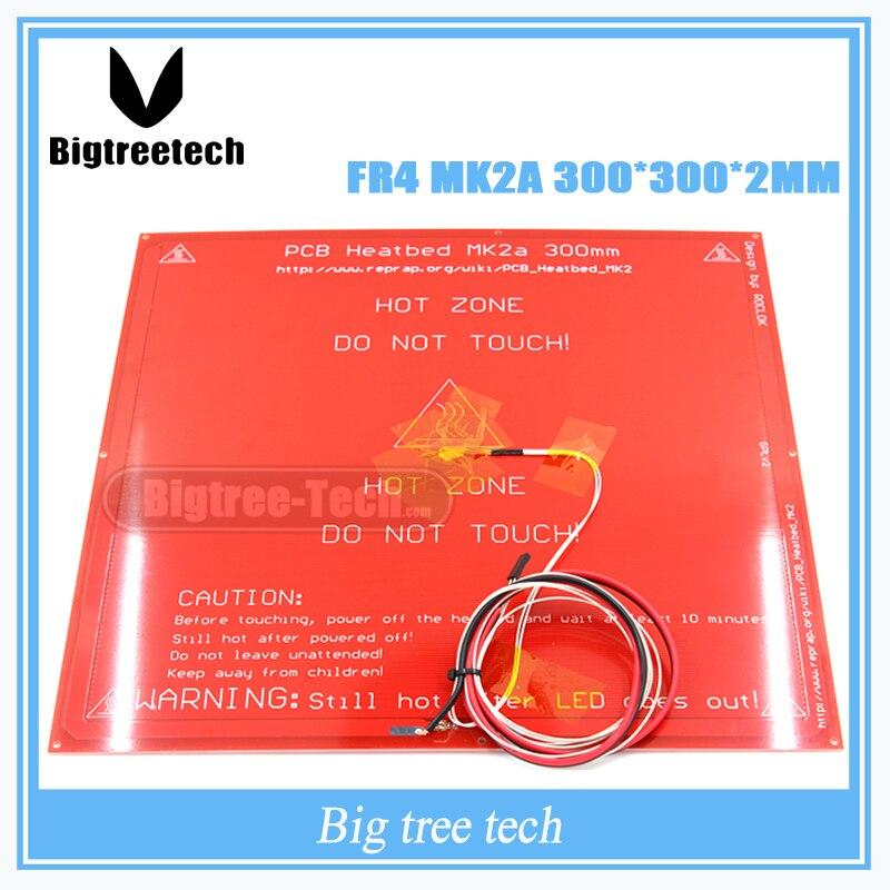300*300*2.0 MK2A RepRap rampes 1.4 PCB lit de chaleur MK2A + LED + résistance + câble + 100 k ohm thermistances PCB lit de chaleur