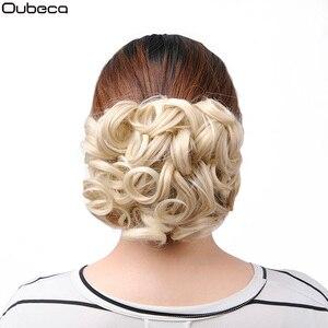 Короткие волнистые волосы Oubeca, шиньон с зажимом В хвостике для наращивания