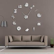 Портной магазин DIY гигантские настенные часы Dressmaker Needlecraft швея манекен Вышивание машины иглы бар большие часы настенные