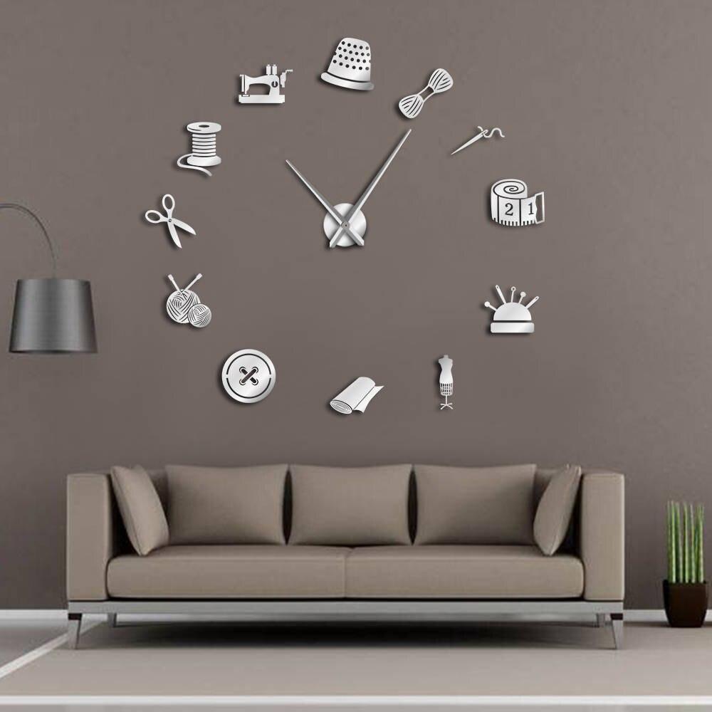 Tailor Shop DIY Riesen Wanduhr Schneiderin Näharbeit Näherin Schaufensterpuppe Nähmaschine Nadel Bar Große Uhr Wand Uhr