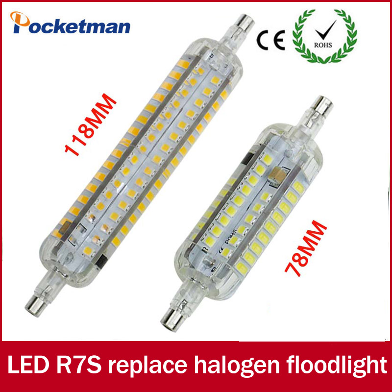 R7S led J78 78mm J118 118mm 360 degree SMD2835 60/80/120leds LED bulb light lamp 220V replace halogen floodlight Silicone