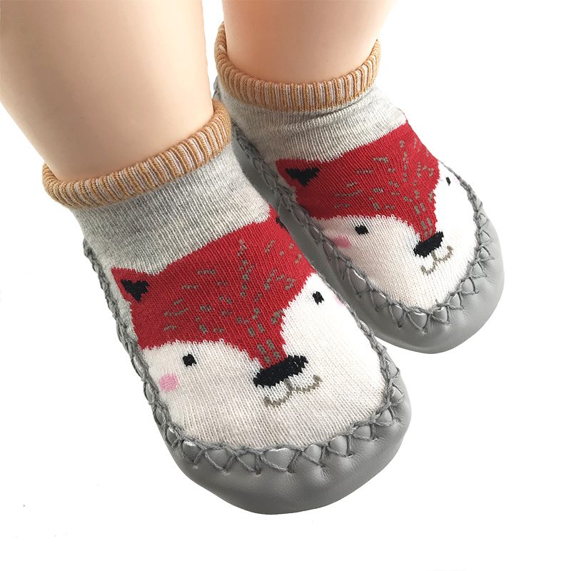 toddler baby shoe socks cotton with rubber soles bebe girls sock shoes fox infant boys floor home walker sock warm foot socks | Happy Baby Mama