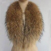 Winter Fashion Women Real Raccoon Fur Collar For Coats Jackets Muffler Genuine Fur Collar Scarf Women's Real Fur Wrap Shawls
