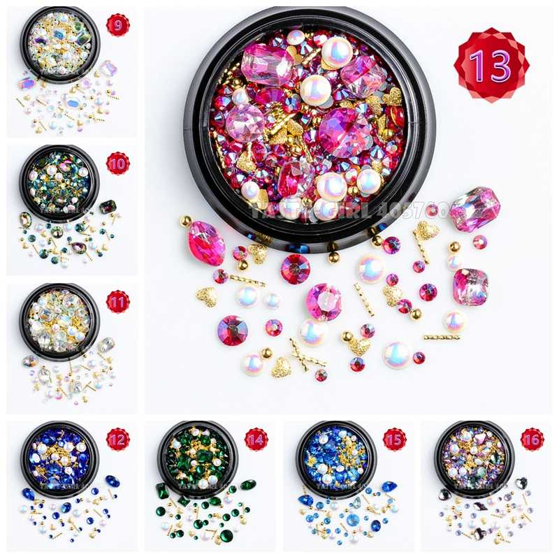 1 Jar Mix Shapes Glitter Diamond Pearls Metal Twisted Bar Beads Frosted Heart Nail Art Rhinestones Gems Decals Manicure DIY Tips