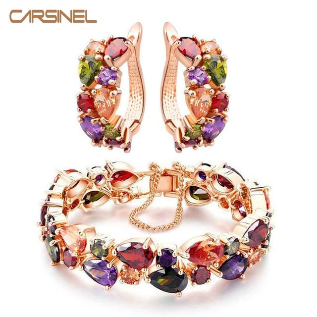 CARSINEL Trendy Shining Colorful Jewelry Sets CZ Zirconia Bracelet&Earrings Rose