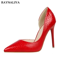 Autumn New Women Pumps Sexy Slim Ultra Pointed High Heeled Shoes Side Empty Hollow Serpentine Thin