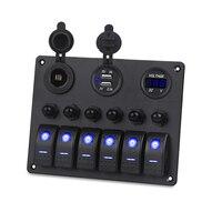 Boat Car Switch Panel 6 Gang LED Rocker Switch Panel 5V 3.1A USB Power Charger Adapter Digital Voltmeter 12V Cigarette Socket