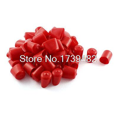 50Pcs Red Soft Plastic PVC Insulated End Sleeves Caps Cover 20mm Dia стоимость