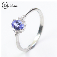 Fashion Silver Gemstone Wedding Ring For Woman 4 6mm Flawless Natural Tanzanite Silver Ring Solid 925