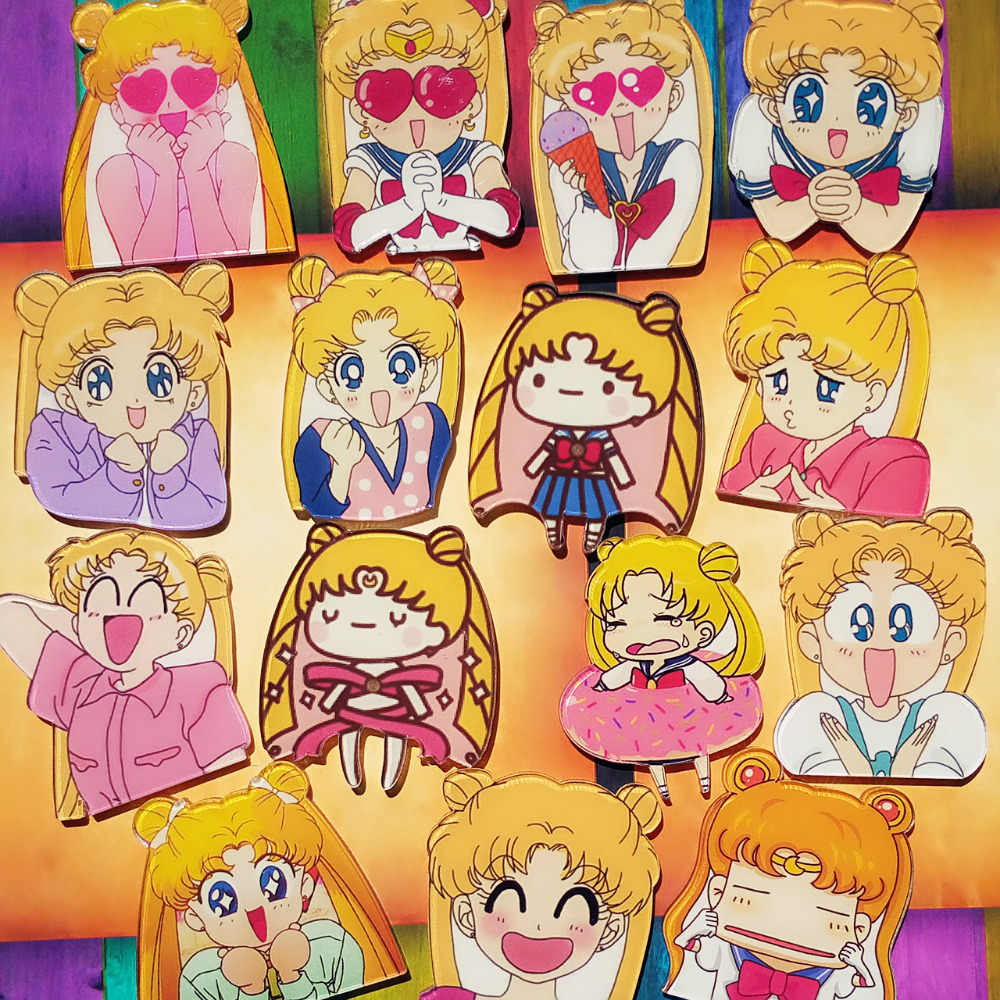 1Pcs Cartoon Anime Cute Girls Soldier Sailor Moon Acrylic Brooch Badge Backpack Clothes Decoration Icon Kids Brooches Pin