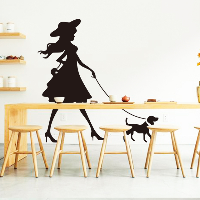 Art 2016 New Design Home Decor Beautiful Fashion Girl With Dog Wall Sticker Removable House Decorative