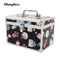 Perfume Bottle Pattern Lady Make Up Box Professional Makeup Bag Quality Lock Big Capacity Travel Cosmetic