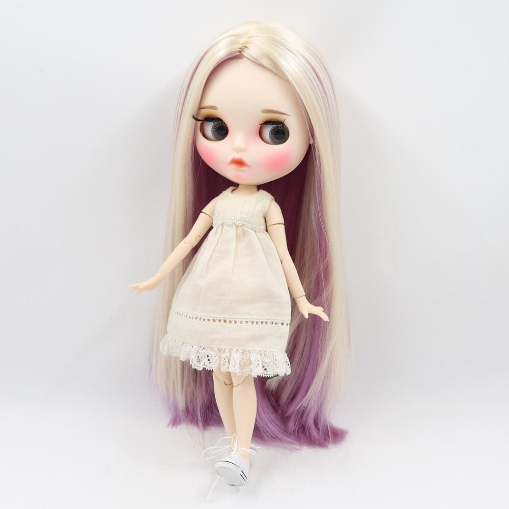 Glück Tage ICY Blyth Puppe 30cm joint körper gemischt farbe gerade haar matte gesicht mit augenbrauen Lip gloss Neo bjd puppe Geschenk spielzeug-in Puppen aus Spielzeug und Hobbys bei  Gruppe 3
