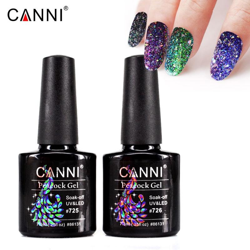 CANNI peacock Supper Shinning Glitter Platinum Nail Polish Gel Nails ...