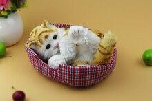 Simulation cat  polyethylene&furs cat model funny gift about 21cmx14cmx12cm
