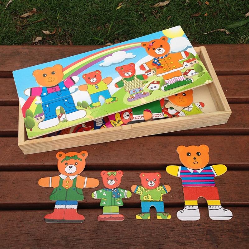 Деревянный пазл набор Детские развивающие Игрушечные лошадки медведь переодевания Паззлы детская деревянная игрушка платье изменение паз...