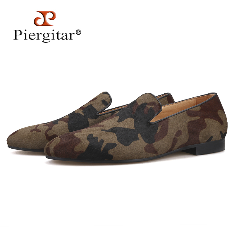 Piergitar 2019 Handmade Camouflage men s classic loafers Horsehair Fashion Party and Banquet men s casual