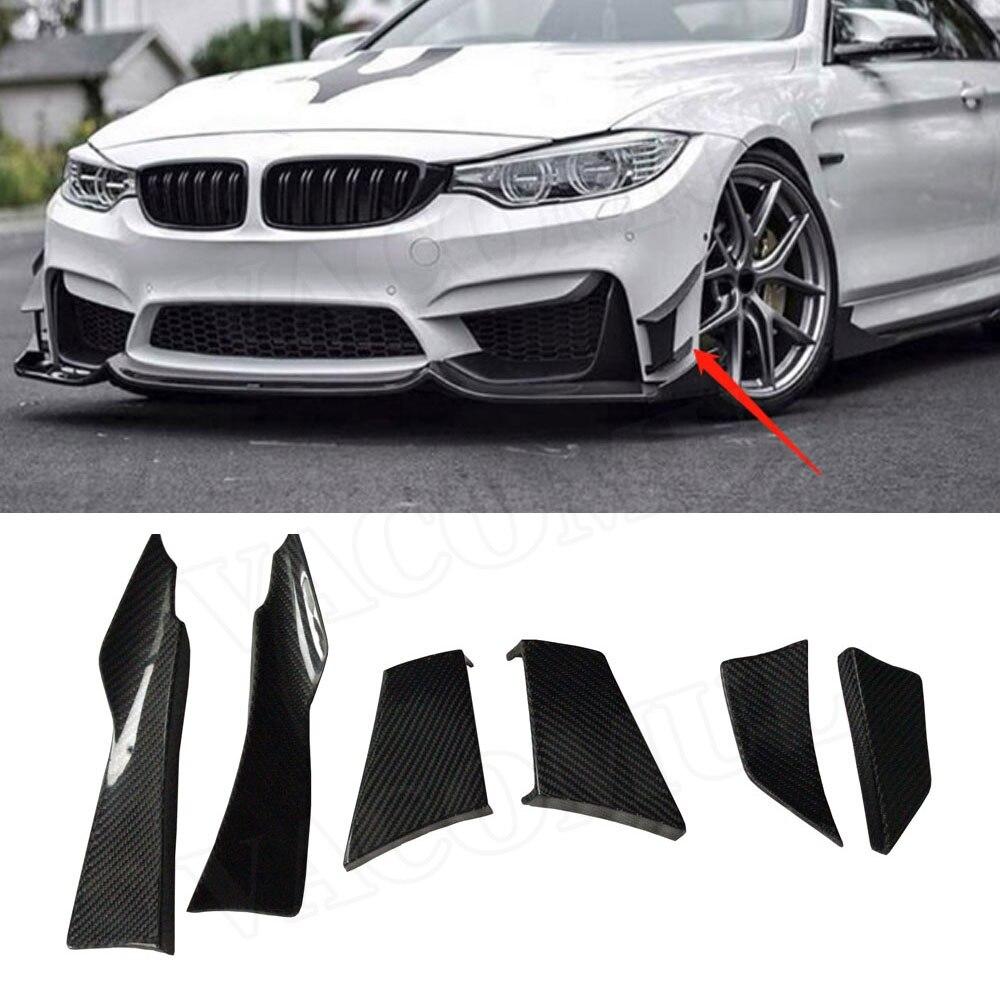 Otomobiller ve Motosikletler'ten Tamponlar'de Karbon Fiber ön tampon yan Candards yüzgeçleri ayırıcılar BMW için rüzgarlık F80 M3 F82 F83 M4 2014 2017 6 adet/takım araba şekillendirici title=