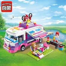 Blocos de construção conjuntos brinquedo 319 pçs iluminar menina adorável série acampamento modelo do carro blocos brinquedos camper bloco brinquedo