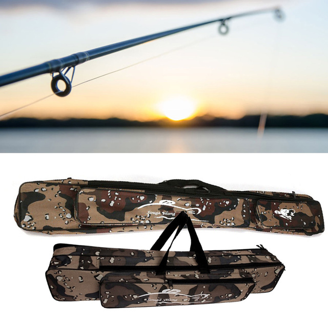 Special Offers Multi-function Foldable Fishing Rod Bag Zipped Case Waterproof Fishing Bags Tackle Storage Bags Pouch Holder(120 cm,Camouflage)