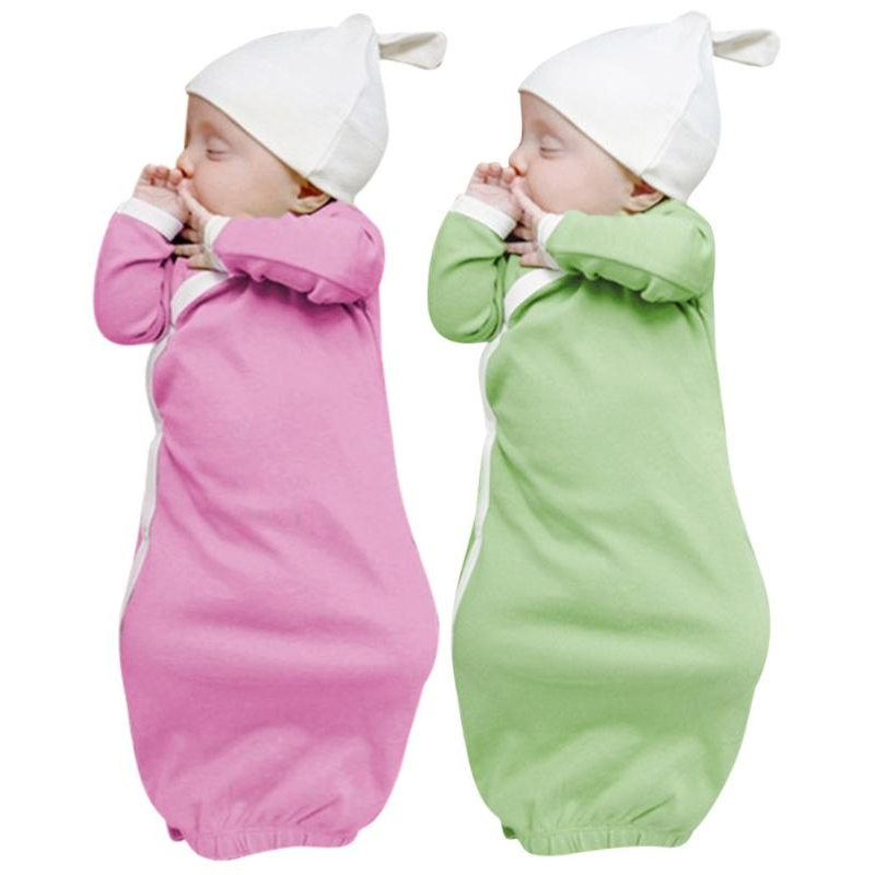 1Set Newborn Baby Sleep Gowns Solid Color Long Sleeve Toddler ...