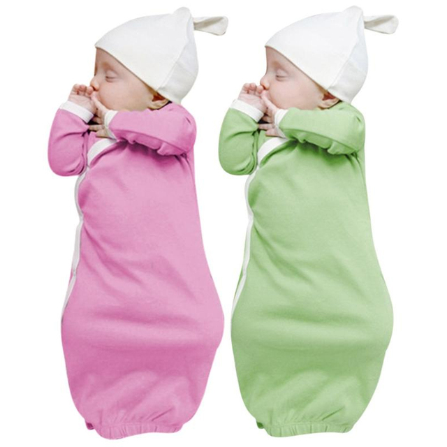 5ef4defbc475 1Set Newborn Baby Sleep Gowns Solid Color Long Sleeve Toddler ...