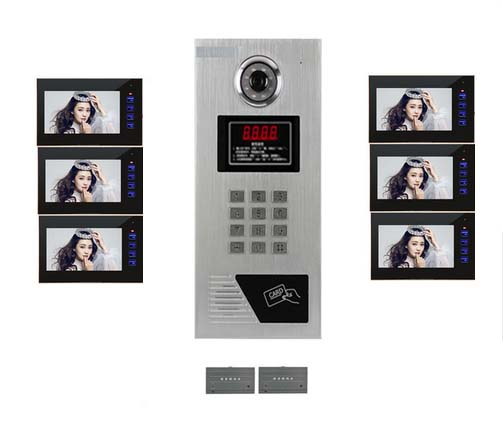 Top Quality 7 LCD Video Door Phone l IR Home Security Building Video Doorbell System For 6-Apartments In Stock