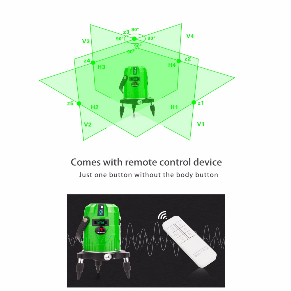 LETER lines Cross line Green laser level font b electronic b font system With remote control
