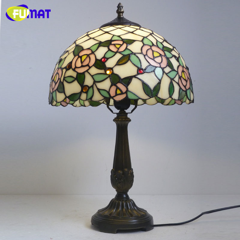 FUMAT Table Lamp Creative Stained Glass Table Light Handmade Home Deco Living Room Light Bedside Table Light Fixtures