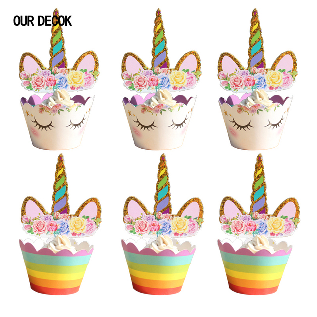 OUR DECOK 24pcs Unicorn Cake Toppers Rainbow Birthday Wrappers Happy Decor